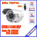 "Security 1/3"" Sony Effio CCD 700TVL OSD menu 36 LED outdoor bullet camera IR 50m Waterproof CCTV camera C573H"