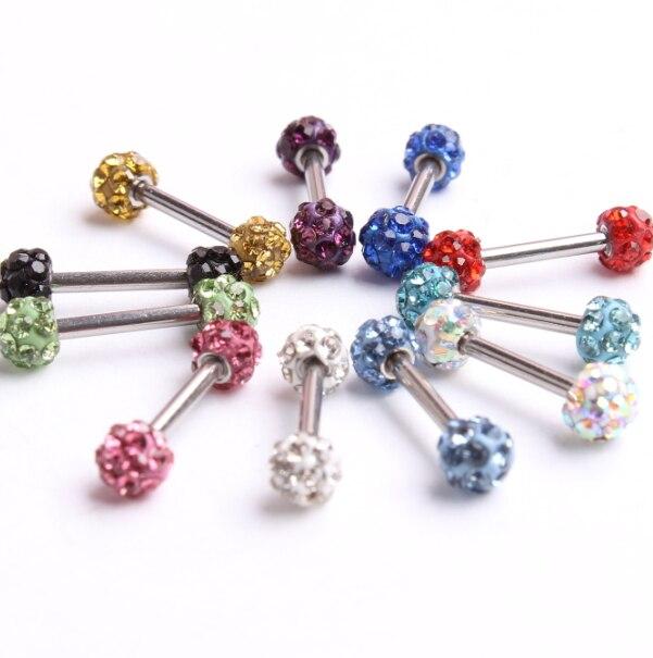 1.2x6x3.5mm Fashion Ear Nail Ear Clasp Crystal Ear Bone Barbell Earring Piercing Helix Ear Stud Tragus Earring