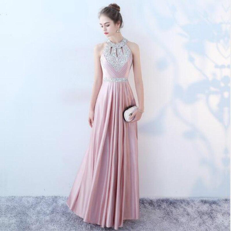 U-SWEAR 2019 New Arrival Summer   Bridesmaid     Dress   Crystal Halter Backless A-Line   Dress   Elegant Sexy Rhinestone   Dress   Vestidos