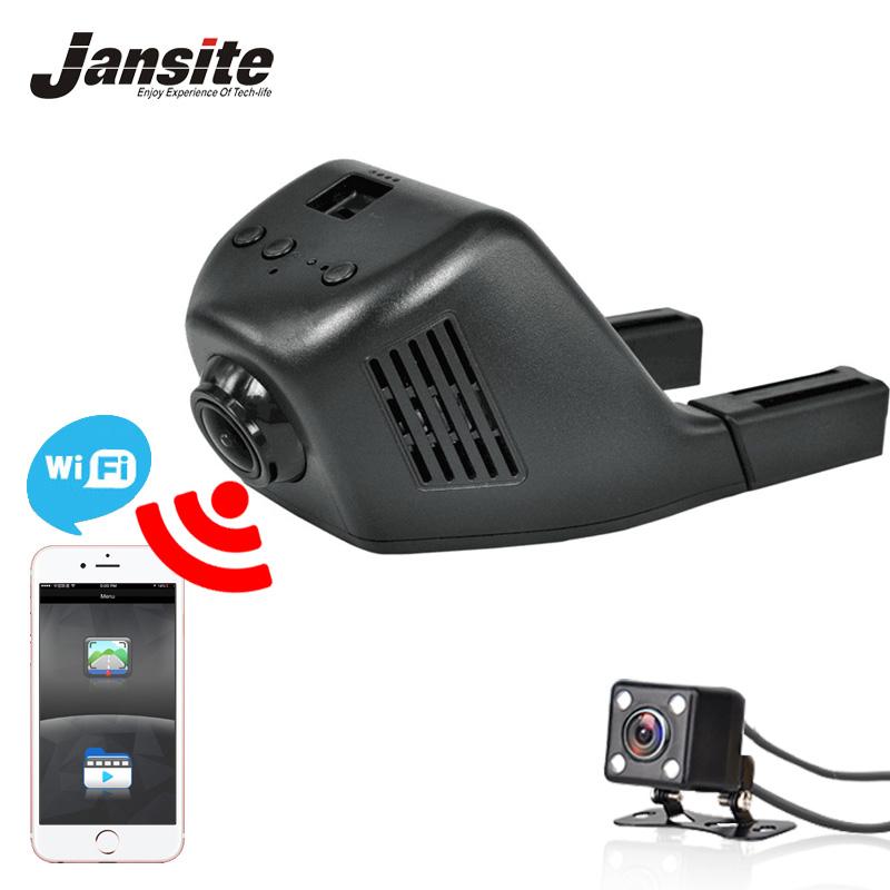 Prix pour Jansite Voiture Dvr Mini Wifi Voiture Caméra Dash Cam Registrator Enregistreur vidéo Caméscope Full HD 1080 P Double Objectif Dvr Soutien App