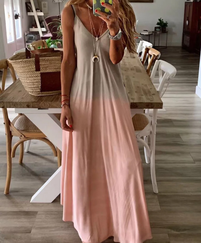 2019 Summer Women Colorful Gradient Spaghetti Strap Party Dress Boho V Neck Beach Long Maxi Dresses Plus Size 3XL