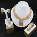 Wedding African Beads Jewelry Sets Band Gold Plated Fashion Party Bridal Rhinestone Necklace Earring Set Bangle Ring Accessories