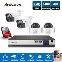 Video surveillance System 4CH 5MP POE NVR Recorder 4*48V 5MP 2592*1944 Security IP67 Indoor Outdoor Vandalproof IP Camera Onvif
