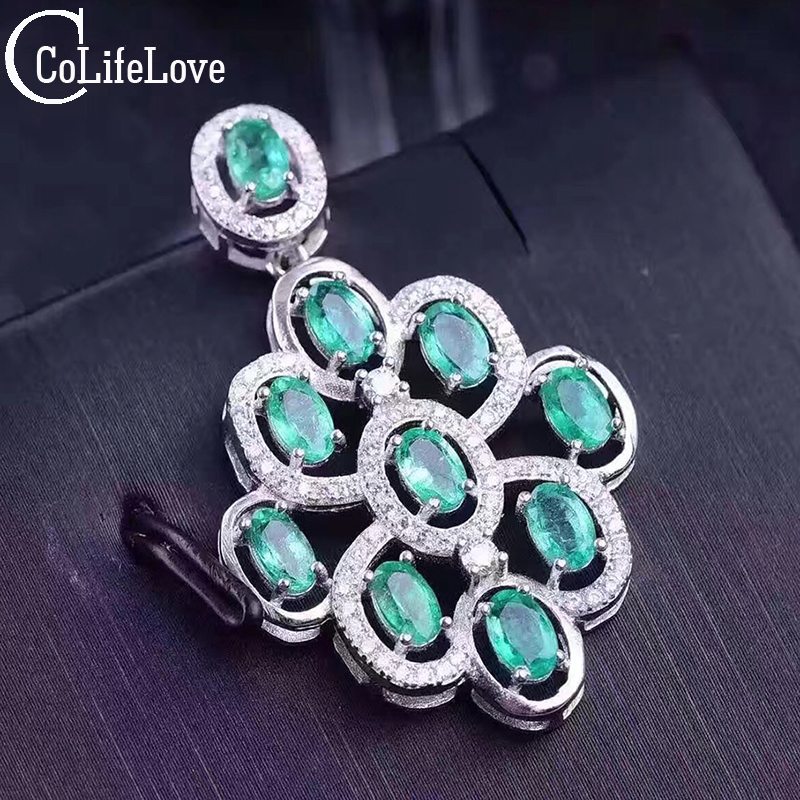 Beautiful natural emerald pendant 10 pcs 3 5mm emerald 2 ct gemstone solid 925 silver emerald