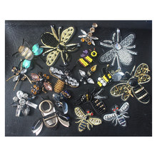 Lebah hitam sequin Rhinestones beads appliques patch bros(China)
