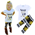 Retail Never Give Up Girl Clothing Sets Letter Arrow Pattern T-shirt + Pants 2pcs Set Summer Style Baby Girls Clothes fantasia