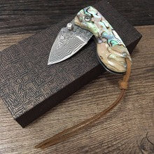 58HRC Handmade Damascus steel blade Pocket Folding Knife with  shell  Handle utility knife  gift knife Outdoor survival knife