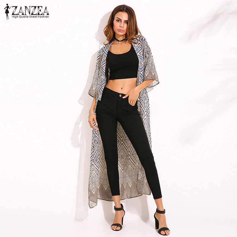 0bac1756cae ZANZEA 2018 Bohemian Style Summer Women Diamond Printed Blouse Tops Loose  Kimono Half Sleeve Long Cardigan
