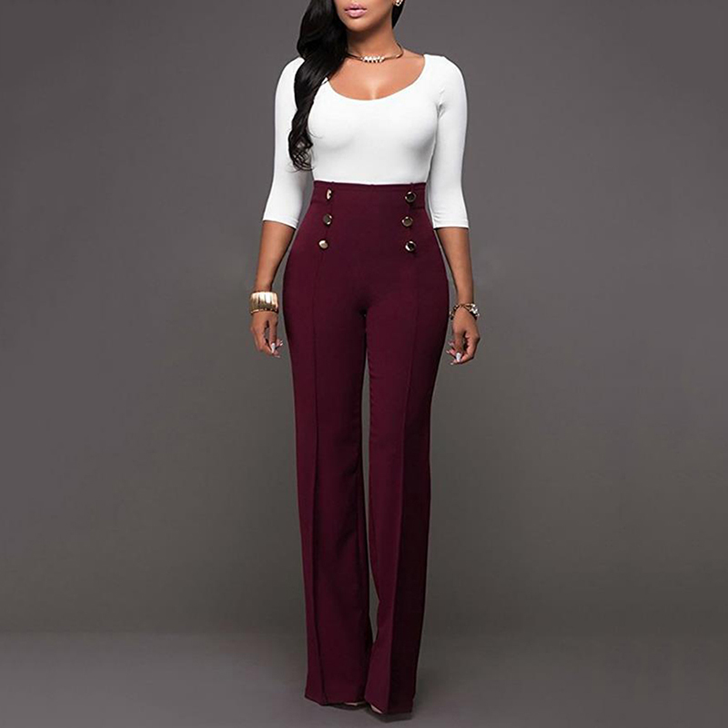 New Vintage Women High Waist   Wide     Leg     Pants   Fashion Hot Sale Heigh Quality Causal Loose Button Trousers Elegant Solid   Pants