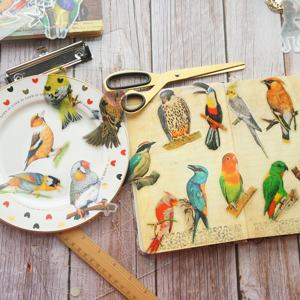 28pcs Tropical Jungle Parrot Bird Style PVC Sticker Scrapbooking DIY Gift Packing Label Decoration Tag