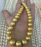 Бесплатная доставка 17 дюймов 11 12 мм Натуральная пресноводная Золотая жемчужина ожерелье