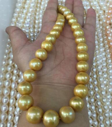 free shipping 17 inch 11-12mm Natural fresh water golden pearl necklacefree shipping 17 inch 11-12mm Natural fresh water golden pearl necklace