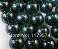 Hot Free shipping,wholesale and retail beautifulNew Charming!10mm Galaxy Staras Green Sand Sun Sitara Loose Bead 15''wj390