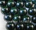 Hot Free shipping,wholesale and retail beautifulNew Charming!10mm Galaxy Staras Green Sand Sun Sitara Loose Bead 15''wj390