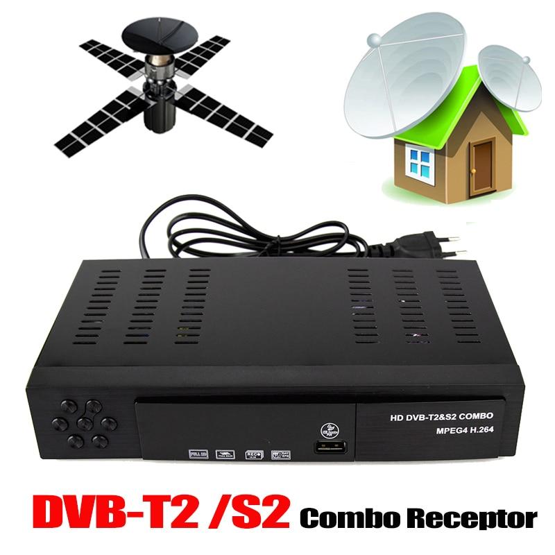 DVB-T2 Receptor Satellite TV Receiver Support DVB-S2 DVB-T2 Tuner Biss key Decoder H.264 1080p TV Digital FTA Satellite Receiver