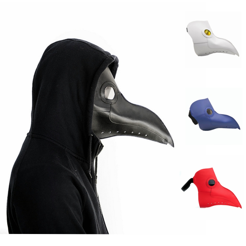 plague doctor mask Beak Mask Long Nose Cosplay Fancy Mask Gothic Retro Rock Leather Halloween beak Mask white red black blue just like other daughters