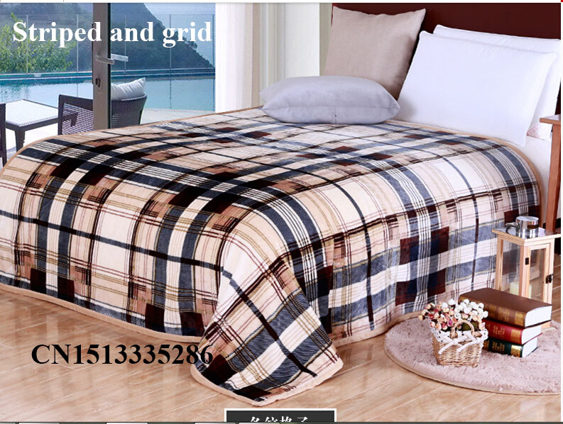 flannel blanket twin queen king size sofa car bed winter fall season stripped soft light travel - Flannel Blanket