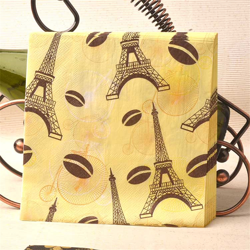 HAOCHU 20pcs Eiffel Tower Paper Napkins Kids Birthday Wedding Banquet Decorative Tissue Party Home Table Set Accessories