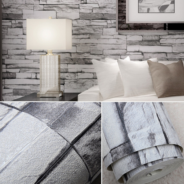 Vintage Faux Stone Brick Wallpaper Removable Wall Pattern Room Decoration Background 0 53