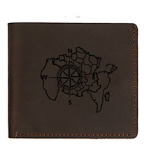 Engraved Picture NSWE Map Compass Wallets Men Leather Coin Purses Dollar Price Money Card Holders Hasp Mini wallet Male(China)