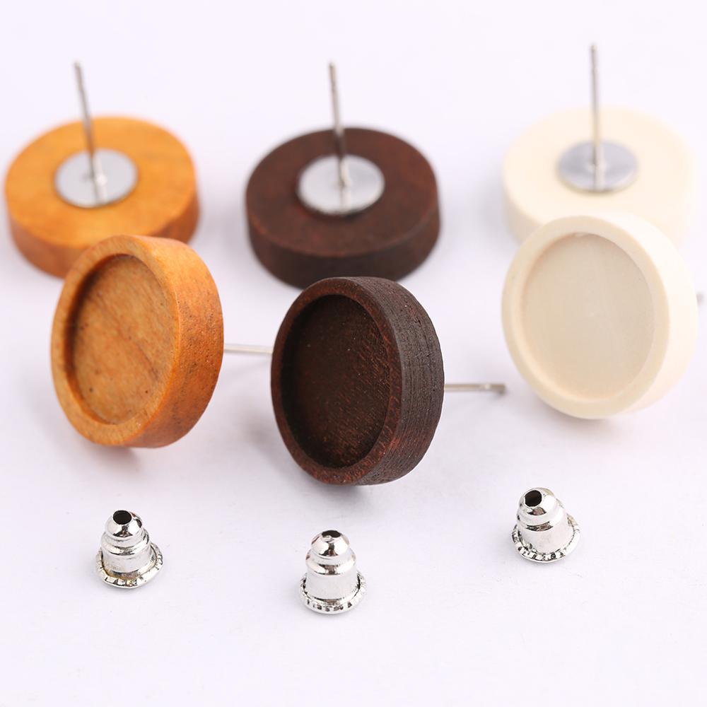 Onwear 40pcs Fit 12mm Cabochon Wood Stud Earring Blanks Stainless Steel Post Earrings Findings Diy Jewelry Base Settings