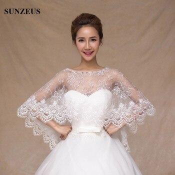 026f34b92 Gorgeous nupcial Bolero marfil encaje capa lujo accesorios de la boda para  La novia cabo S464