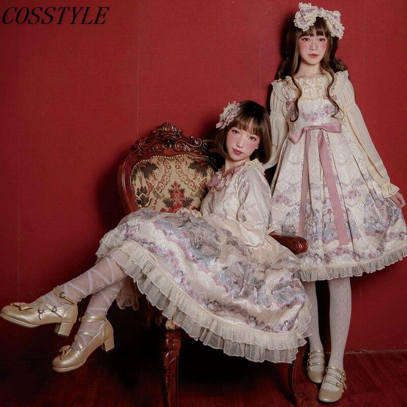 Chanter Une Berceuse Pour Vous Les Femmes Taille Haute Robe Lolita Luxe Doux Filles Étudiants À Manches Longues Chemisier et JSK Robe Lolita Ensembles