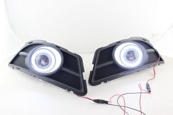 eOsuns COB angel eye led daytime running light DRL + Fog Light + Projector Lens for Chevy Epica 2013