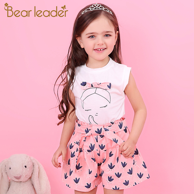 Bear Leader Girls Clothing Sets 2018 New Summer Sleeveless T-shirt+Print Bow Pants 2Pcs for Kids Clothing Sets Baby Clothes