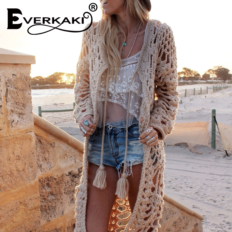 Everkaki Boho Hand Knitted Long Cardigan Sweater Women Wool Loose Hollow Beach Irregular Knit Coat Tassels 2020 Spring New
