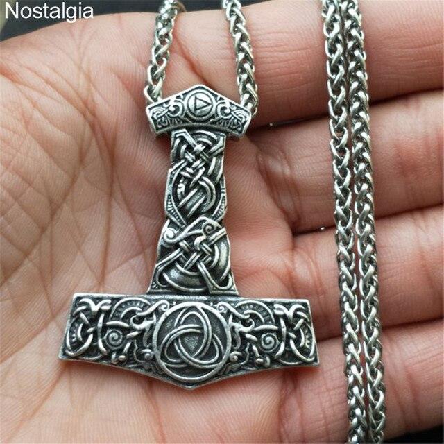 Nostalgie Thor marteau Mjolnir Aegishjalmur Dragon collier hommes Viking Rune nordique trinité bijoux ethniques sans collier