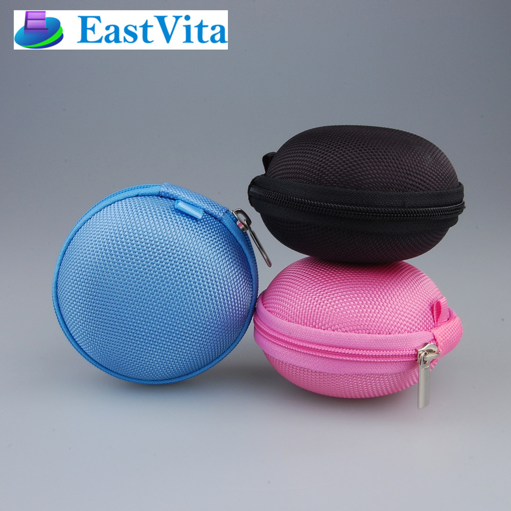 EastVita 3pcs/lot Mini Hard Carry Storage Pouch Bag Case Hold For Headphone Earphone Headset Cute red blue black 3pcs a set r30