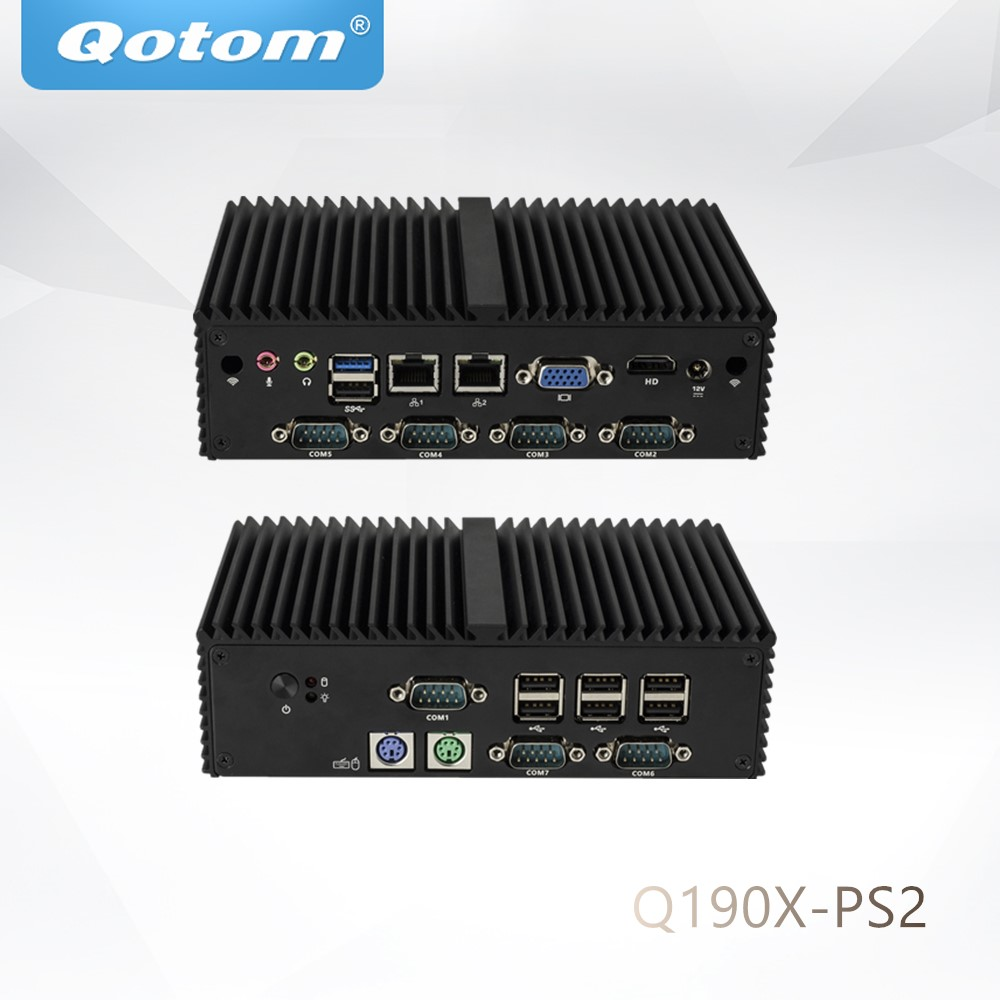 Qotom Mini Pc Q190X-PS2 Core J1900 Quad Core 7 RS232 PS2 Dual Lan VGA 10W Low Power WIN 10/Linux Fanless Industrial Computer