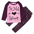 Осень Зима Малышей Baby Girl Kid Хлопка С Длинным Рукавом Пуловер Дикий Сердце Письмо Рубашка Топ + Леопарда Брюки Одежда 2 шт. Baby Set