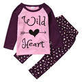 Autumn Winter Toddler Baby Girl Kid Cotton Long Sleeve Pullover Wild Heart Letter Shirt Top+Leopard Pants Clothes 2pcs Baby Set