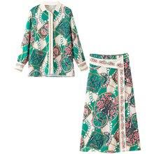 Women's suit pajamas fashion suit romantic bohemian printed shirt + positioning color matching half-length skirt two-piece random printed pajamas suit in camel