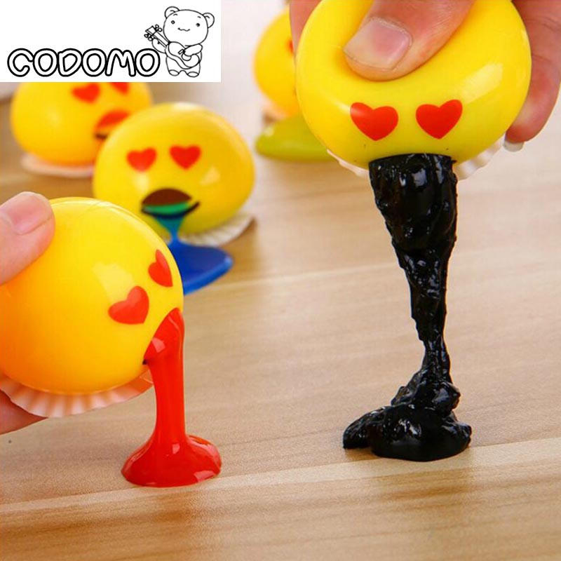 5.8cm Big Vomiting egg yolk Slime color toy for adult 2017 New Fun Slime putty Sand gelatin relieve stress Pinch Oyuncak for kid