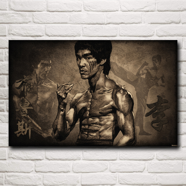 Chinese Kung Fu Movie Star Bruce Lee Bodybuilding Decoration Painting Silk Poster(12×18,16X24,20×30,24×36 inches)(Free Shipping)