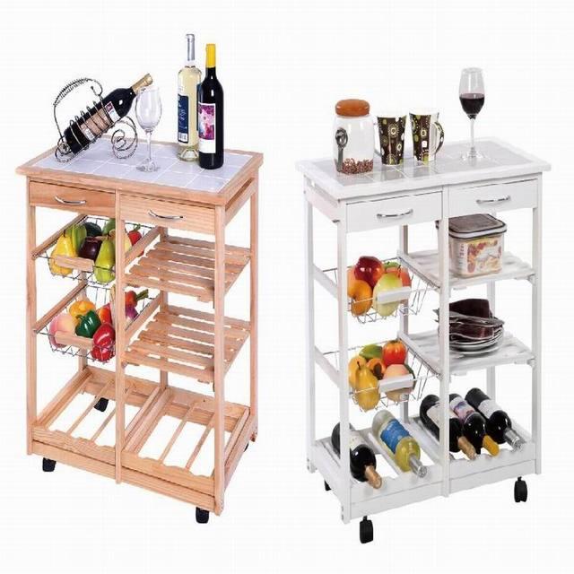 Servicio carro de cocina mesa auxiliar de madera natural for Mesa auxiliar de cocina con ruedas