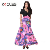 Plus Size 5 6 7XL Women Summer Bohemian Sexy Elegant Maxi Ruched Mask Print Patchwork V