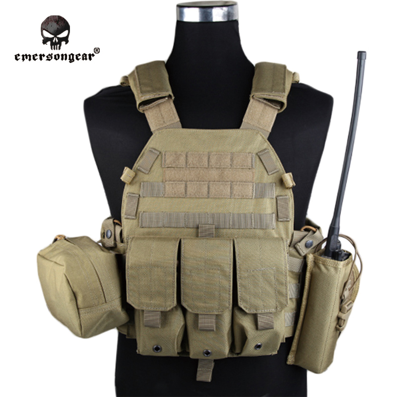 Emersongear LBT6094A Style Vest With Pouches Airsoft Painball Military Army Combat Gear EM7440I Khaki