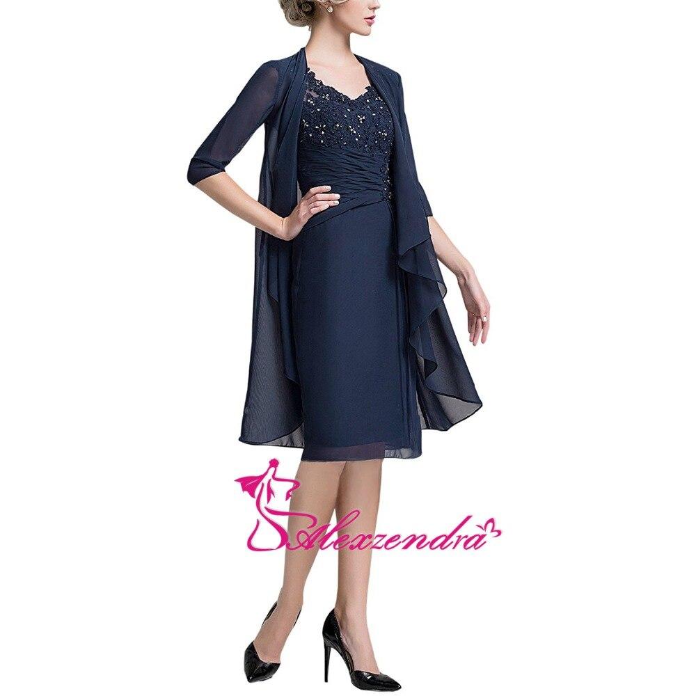 Alexzendra V Neck Navy Blue Chiffon Knee Length Mother of Bride Dress with Jacket Prom Dress