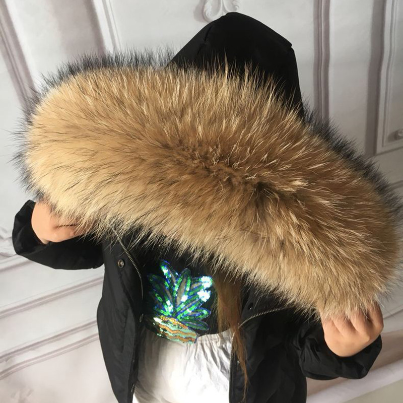 100% Real Fur Collar For Parkas Coats Luxury Warm Natural Raccoon Scarf Women Large Fur Scarves Male Down Jacket Fur Hat 75 70cm