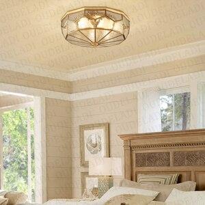 Image 4 - מודרני LED נחושת אקריליק זכוכית תקרת אורות דקורטיבי תאורת מסדרון חדר שינה סלון רטרו E27 מנורות עם