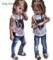 2017 Европейских и Американских детская одежда девочка мальчик кошка шаблон рукавов рубашки + джинсы/2 компл. детей костюм