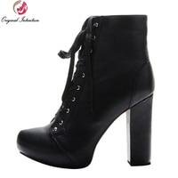 Intenção Original Novo Clássico Botas de Tornozelo Mulheres Elegantes Dedo Do Pé Redondo Saltos Quadrados Lace-Up Sapatos Pretos Mulher Plus EUA tamanho 4-15