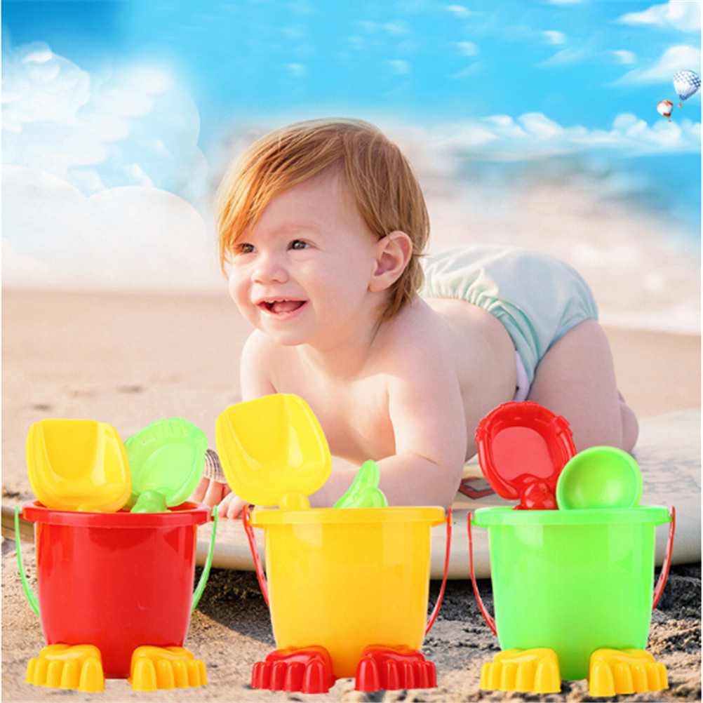HOT 4Pcs/set Sand Sandbeach Kids Beach Toys Castle Bucket Spade Shovel Rake Water Tools High-grade Beach Barrels Beach Toys