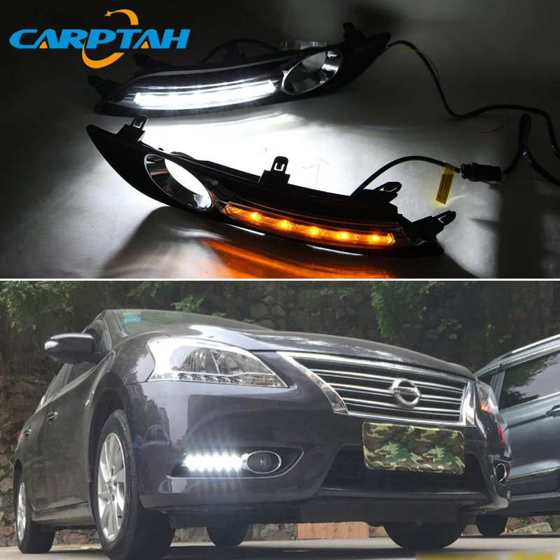 LED Daytime Running Light For Nissan Sentra Sylphy 2012 2015 Waterproof Yellow Turn Signal Indicator Light