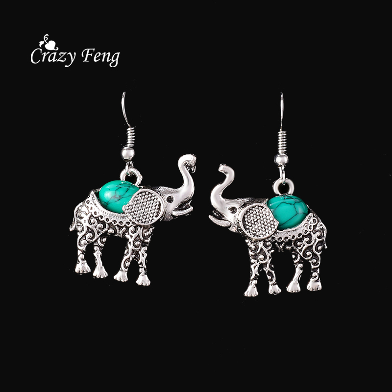 HTB1Zzo4QpXXXXb1XpXXq6xXFXXXQ - Fashion Green African Jewelry Sets for Women Vintage Silver Color Elephant Pendant Necklace Earrings Bracelets Jewellery Gift