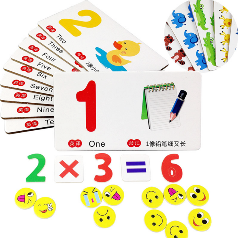 1 Set Children Funny Wooden Montessori Animal Number Mathematics ...